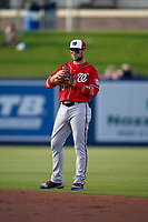Washington Nationals third baseman Carter Kieboom (8) during a Major League Spring Training game against the Houston Astros on March 19, 2021 at The Ballpark of the Palm Beaches in Palm Beach, Florida.  (Mike Janes/Four Seam Images)