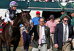 LEXINGTON, KY - APRIL 15: Miss Temple City is led onto the turf by her connections for the winner's presentation. #2 Miss Temple City and jockey Drayden Van Dyke win the 28th running of The Maker's 46 Mile (Grade 1) $300,000 at Keeneland race course for owner Sagamore Farm (Kevin Plank), Allen Rosenblum, and The Club Racing LLC (Aaron Jutte), and trainer Graham Motion.   April 15, 2016 in Lexington, Kentucky. (Photo by Candice Chavez/Eclipse Sportswire/Getty Images)