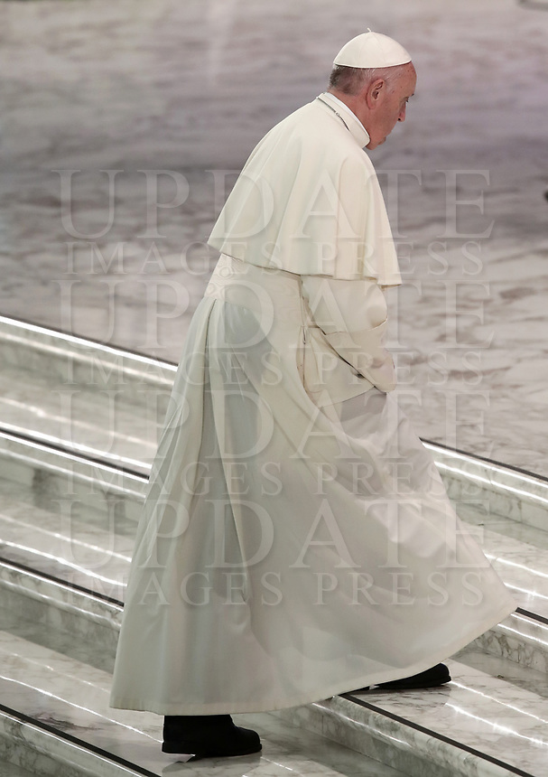 Pope Francis walks up the steps of the Paul VI Hall during<br /> a meeting with the youth and the Synod Fathers at the Vatican, on October 6, 2018. <br /> UPDATE IMAGES PRESS/Isabella Bonotto<br /> <br /> STRICTLY ONLY FOR EDITORIAL USE