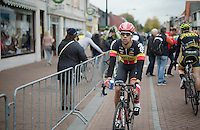 Uncertain whether he has actually won or not, Jens Debusschere (BEL/Lotto-Belisol) returns to the finish line to check the photo-finish for himself<br /> <br /> Sluitingsprijs Putte-Kapellen 2014