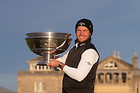 3rd October 2021; The Old Course, St Andrews Links, Fife, Scotland; European Tour, Alfred Dunhill Links Championship, Fourth round; Danny Willett of England poses on the Swilken Bridge with the Alfred Dunhill Links Championship trophy after his win on the Old Course, St Andrews