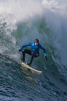 Half Moon Bay - Ca, Sunday, January 20, 2013: Greg Long competes during the 2013 Mavericks Invitational..