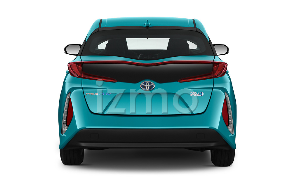 Straight rear view of 2019 Toyota Prius-Plug-in-Hybride Comfort 5 Door Hatchback Rear View  stock images