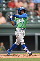 Right fielder Rudy Martin (2) of the Lexington Legends bats in a game against the Greenville Drive on Friday, June 30, 2017, at Fluor Field at the West End in Greenville, South Carolina. Lexington won, 17-7. (Tom Priddy/Four Seam Images)