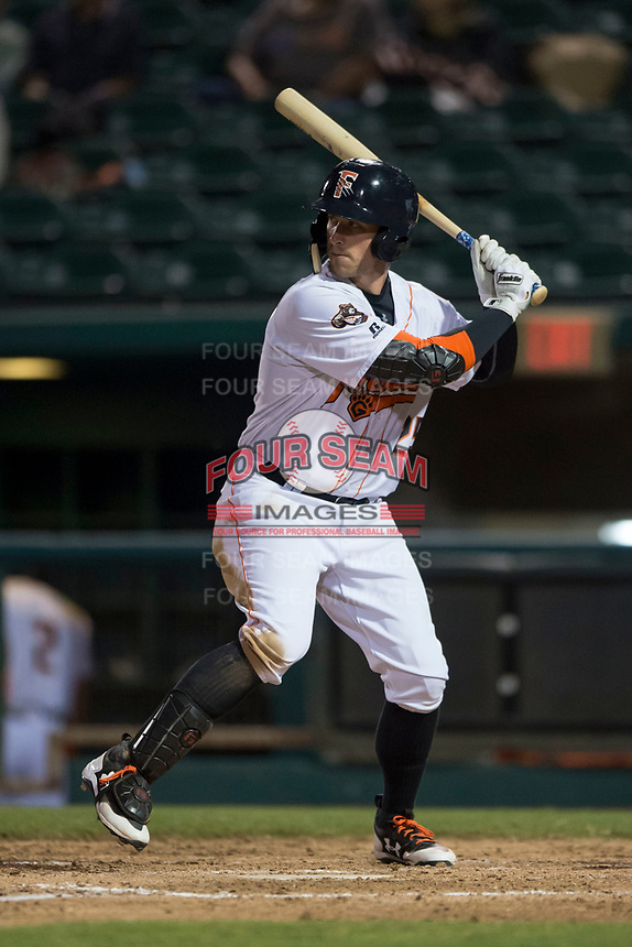 Fresno Grizzlies right fielder Jon Kemmer (25) at bat during a Pacific Coast League game against the Salt Lake Bees at Chukchansi Park on May 14, 2018 in Fresno, California. Fresno defeated Salt Lake 4-3. (Zachary Lucy/Four Seam Images)