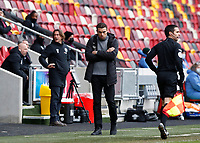 14th February 2021; Brentford Community Stadium, London, England; English Football League Championship Football, Brentford FC versus Barnsley; Barnsley Manager Valerien Ismael looks on from the touchline