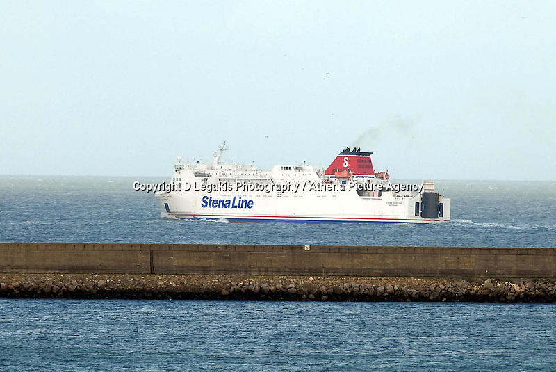 """Pictured: A Stena Lines ferry leaves the port of Fishguard west Wales.STOCK PICTURE<br /> Re: A ferry is back in port in Wales after its passengers and crew spent the night stranded in the Irish Sea.<br /> The Stena Line ferry between Rosslare and Fishguard in Pembrokeshire was unable to dock on Monday with 87 passengers and 59 crew stuck onboard.<br /> It was forced to sail to sheltered waters off the Llyn Peninsula in north Wales overnight and eventually docked nearly 24 hours later than planned.<br /> It follows flooding across Wales in the wake of Storm Angus.<br /> Diane Poole from the ferry operator said passengers had been in """"really good spirits"""" despite their night at sea.<br /> """"The ship was well sheltered, they had a comfortable evening and they were well looked after, and they are in very good form this morning,"""" she said."""