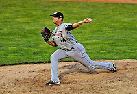 2 July 2011: Tri-City ValleyCats pitcher Travis Blankenship on the mound against the Vermont Lake Monsters at Centennial Field in Burlington, Vermont. The Monsters rallied from a 4-2 deficit to defeat the ValletCats 7-4 in NY Penn League action. Mandatory Credit: Ed Wolfstein Photo