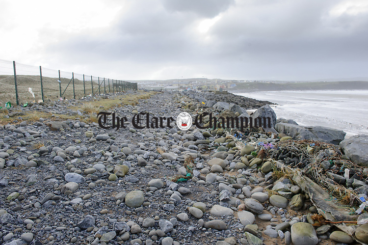 A view of some of the damage done to the walkway adjacent to the Golf club during Storm Imogen in Lahinch. Photograph by John Kelly.