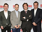 """James Graham, Jonny Lee Miller, Rupert Goold abd Bertie Carvel attends the Broadway Opening Night After Party for """"Ink"""" at the Copacabana on April 24, 2019  in New York City."""