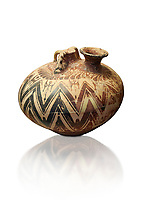 Mycenaean three handled styrrup jar with painted zig zag  and double axesdesigns, Tholos tomb 2 , Myrsinochori, Messenia, 15th cent BC. National Archaeological Museum Athens. Cat No 8376. White Background.