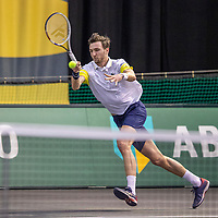 Rotterdam, The Netherlands, 27 Februari 2021, ABNAMRO World Tennis Tournament, Ahoy, Qualyfying match: Arthur Rinderknech (FRA)<br /> Photo: www.tennisimages.com/henkkoster