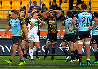 Referee Marius Van Der Westhuizen red cards Beauden Barrett during the Super Rugby match between the Hurricanes and Waratahs at Westpac Stadium in Wellington, New Zealand on Saturday, 7 April 2017. Photo: Dave Lintott / lintottphoto.co.nz