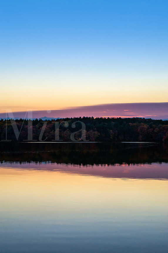Sunset on Walden Pond, made famous by Henry David Thoreau, Concord, MA, Massachusetts