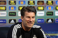 Valencia, Spain. Wednesday 18 September 2013<br /> Pictured: Swansea manager Michael Laudrup.<br /> Re: Swansea City FC press conference ahead of their UEFA Europa League game against Valencia C.F. at the Estadio Mestalla, Spain,