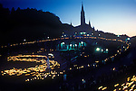 Lourdes France Basilica, a night time candle lit procession and vigil 1990s
