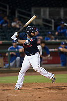 AZL Indians 2 catcher Felix Fernandez (9) at bat during an Arizona League game against the AZL Dodgers at Goodyear Ballpark on July 12, 2018 in Goodyear, Arizona. The AZL Indians 2 defeated the AZL Dodgers 2-1. (Zachary Lucy/Four Seam Images)