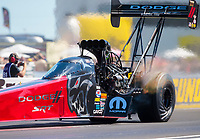 Sep 5, 2020; Clermont, Indiana, United States; NHRA top fuel driver Leah Pruett during qualifying for the US Nationals at Lucas Oil Raceway. Mandatory Credit: Mark J. Rebilas-USA TODAY Sports