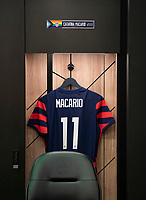AUSTIN, TX - JUNE 16: The jersey of Catarina Macario #11 hangs in the USWNT locker room before a game between Nigeria and USWNT at Q2 Stadium on June 16, 2021 in Austin, Texas.