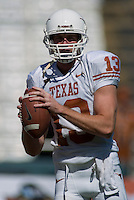 07 October 2006: Texas quarterback Matthew McCoy warms up before the Longhorns game against the University of Oklahoma Sooners at the Cotton Bowl in Dallas, TX.