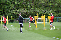 The Welsh players warming up, which included the recently injured Joe Ledley during the Wales Open Training Session on Wednesday 1st June 2016 at the Vale Resort, in the Vale of Glamorgan. <br /> <br /> <br /> Jeff Thomas Photography -  www.jaypics.photoshelter.com - <br /> e-mail swansea1001@hotmail.co.uk -<br /> Mob: 07837 386244 -
