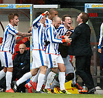 Gary Locke celebrates the second goal with his Killie players