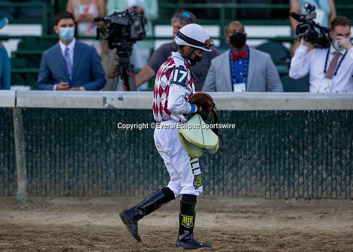 September 5, 2020: Jockey Manny Franco is dejected after losing the 2020 Kentucky Derby aboard favorite Tiz the Law at Churchill Downs in Louisville, Kentucky, on September 05, 2020. Evers/Eclipse Sportswire/CSM