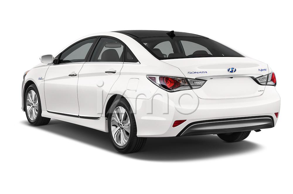 Car pictures of rear three quarter view of a 2015 Hyundai Sonata Hybrid Limited 4 Door Sedan Angular Rear