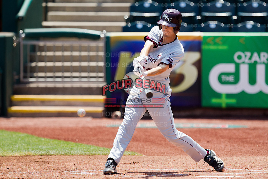 Kevin Medrano (13) of the Missouri State Bears makes contact on a pitch during a game against the Wichita State Shockers in the 2012 Missouri Valley Conference Championship Tournament at Hammons Field on May 23, 2012 in Springfield, Missouri. (David Welker/Four Seam Images)