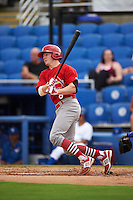 Palm Beach Cardinals outfielder Blake Drake (8) at bat during the first game of a doubleheader against the Dunedin Blue Jays on July 31, 2015 at Florida Auto Exchange Stadium in Dunedin, Florida.  Dunedin defeated Palm Beach 7-0.  (Mike Janes/Four Seam Images)