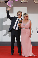 """VENICE, ITALY - SEPTEMBER 10: Devin DeVasquez and Ronn Moss on the red carpet for the movie """"Un Autre Monde"""" during the 78th Venice International Film Festival on September 10, 2021 in Venice, Italy.<br /> CAP/GOL<br /> ©GOL/Capital Pictures"""