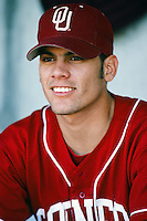 Javier Flores of the Oklahoma Sooners before a 1996 NCAA baseball season game at Goodwin Field in Fullerton, California. (Larry Goren/Four Seam Images)