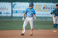 Kai Henson (28) (Mt Island Charter HS) of the Dry Pond Blue Sox takes his lead off of second base against the Mooresville Spinners at Moor Park on July 2, 2020 in Mooresville, NC.  The Spinners defeated the Blue Sox 9-4. (Brian Westerholt/Four Seam Images)