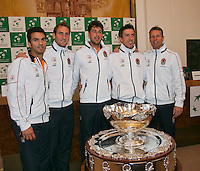 30-01-2014,Czech Republic, Ostrava, Cez Arena, Davis Cup, Czech Republic vs Netherlands, draw, city hall, The Dutch team with the Davis Cup, l.t.r.: Jean-Julien Rojer, Thiemo de Bakker, Robin Haase, Igor Sijsling,  and captain Jan Siemering from the Dutch team.<br /> Photo: Henk Koster
