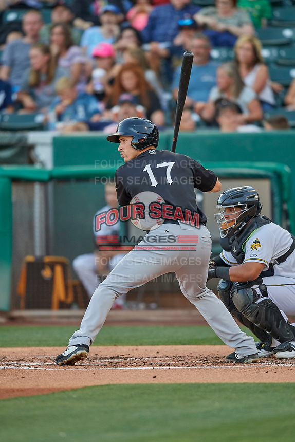 Seth Mejias-Brean (17) of the El Paso Chihuahuas at bat against the Salt Lake Bees at Smith's Ballpark on August 17, 2019 in Salt Lake City, Utah. The Bees defeated the Chihuahuas 5-4. (Stephen Smith/Four Seam Images)