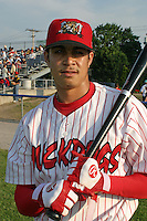 June 27, 2003:  shortstop Esteban DeLosSantos of the Batavia Muckdogs during a game at Dwyer Stadium in Batavia, New York.  Photo by:  Mike Janes/Four Seam Images