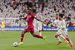 Abdelkarim Hassan of Qatar (L) in action during the AFC Asian Cup UAE 2019 Semi Finals match between Qatar (QAT) and United Arab Emirates (UAE) at Mohammed Bin Zaied Stadium  on 29 January 2019 in Abu Dhabi, United Arab Emirates. Photo by Marcio Rodrigo Machado / Power Sport Images