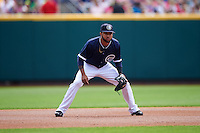 Columbus Clippers third baseman Ronny Rodriguez (13) during a game against the Lehigh Valley IronPigs on May 12, 2016 at Huntington Park in Columbus, Ohio.  Lehigh Valley defeated Columbus 2-1.  (Mike Janes/Four Seam Images)