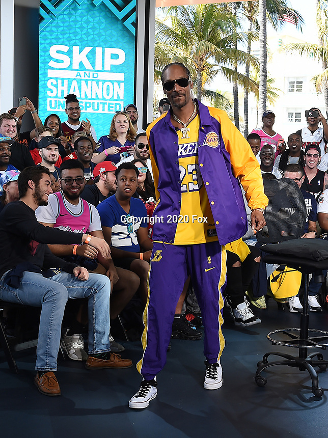 """MIAMI BEACH, FL - JANUARY 29: Snoop Dogg appears on the set of """"Skip & Shannon: Undisputed"""" on the Fox Sports South Beach studio during Super Bowl LIV week on January 29, 2020 in Miami Beach, Florida. (Photo by Frank Micelotta/Fox Sports/PictureGroup)"""