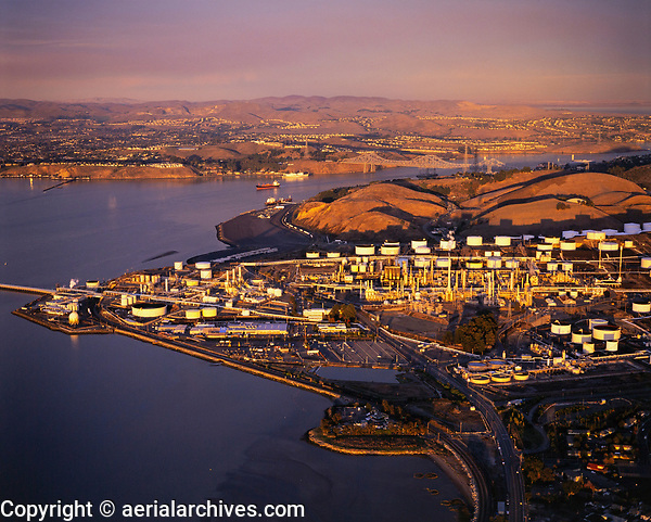 aerial photograph the Phillips San Francisco refinery, Rodeo, Contra Costa County, California
