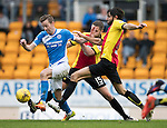 St Johnstone v Partick Thistle…29.10.16..  McDiarmid Park   SPFL<br />Steven MacLean is tackled by Adam Barton and Danny Devine<br />Picture by Graeme Hart.<br />Copyright Perthshire Picture Agency<br />Tel: 01738 623350  Mobile: 07990 594431