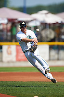 Clinton LumberKings third baseman Joseph DeCarlo (5) throws to first during a game against the Great Lakes Loons on August 16, 2015 at Ashford University Field in Clinton, Iowa.  Great Lakes defeated Clinton 3-2.  (Mike Janes/Four Seam Images)