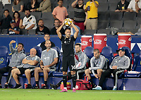 CARSON, CA - SEPTEMBER 15: Luis Martins #36 of Sporting Kansas City with a throw in during a game between Sporting Kansas City and Los Angeles Galaxy at Dignity Health Sports Complex on September 15, 2019 in Carson, California.