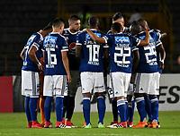 BOGOTA - COLOMBIA – 17 - 04 - 2018: Los jugadores de Millonarios (COL), durante partido entre Millonarios (COL) y Deportivo Lara (VEN), de la fase de grupos, grupo G, fecha 3 de la Copa Conmebol Libertadores 2018, en el estadio Nemesio Camacho El Campin, de la ciudad de Bogota. / The players of Millonarios (COL) during a match between Millonarios (COL) and Deportivo Lara (VEN), for the second phase, key1, of the Conmebol Copa Libertadores Bridgestone 2017 in the Nemesio Camacho El Campin stadium in Bogota city. VizzorImage / Luis Ramirez / Staff.
