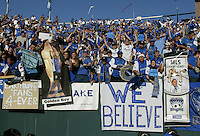 Earthquakes Fan celebrate after Quakes won the MLS Cup at Home Depot Center in Carson, California on November 22nd, 2003.   Earthquakes defeated Fire 4-2 for the MLS Cup.