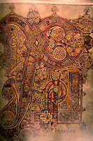 Visual Arts:  Book of Kells-- Chi Rho monogram.--Chi and rho are the first two letters of the word Christ in Greek. illuminated manuscript Gospel book in Latin.   On  permanent display at the Trinity College Library, Dublin.  Photo '84.