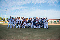 The Peoria Javelinas pose for a team photo after winning the Arizona Fall League Championship Game against the Salt River Rafters at Scottsdale Stadium on November 17, 2018 in Scottsdale, Arizona. Peoria defeated Salt River 3-2 in 10 innings. Davidson broke his left foot while rounding second base. (Zachary Lucy/Four Seam Images)