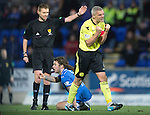 St Johnstone v St Mirren.....11.01.14   SPFL<br /> Jim Goodwin shows his fruatration as he commits yet another foul<br /> Picture by Graeme Hart.<br /> Copyright Perthshire Picture Agency<br /> Tel: 01738 623350  Mobile: 07990 594431