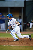 Bluefield Blue Jays third baseman Davis Schneider (8) follows through on a swing during a game against the Bristol Pirates on July 26, 2018 at Bowen Field in Bluefield, Virginia.  Bristol defeated Bluefield 7-6.  (Mike Janes/Four Seam Images)
