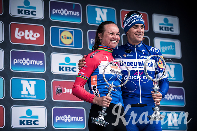 Women's Elite winner Chantal Blaak (NED/Boels Dolmans Ct) and Men Elite Winner Zdenek Stybar (CZE/Deceuninck Quick Step)<br /> <br /> 74th Omloop Het Nieuwsblad 2019 (BEL)<br /> ©kramon